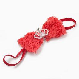 Haarbandje strik van roosjes met kroontje (koraal)