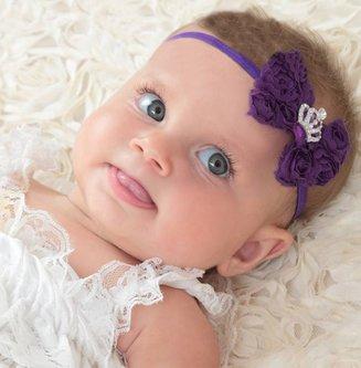 Baby haarbandje strik van roosjes met kroontje (koraal)