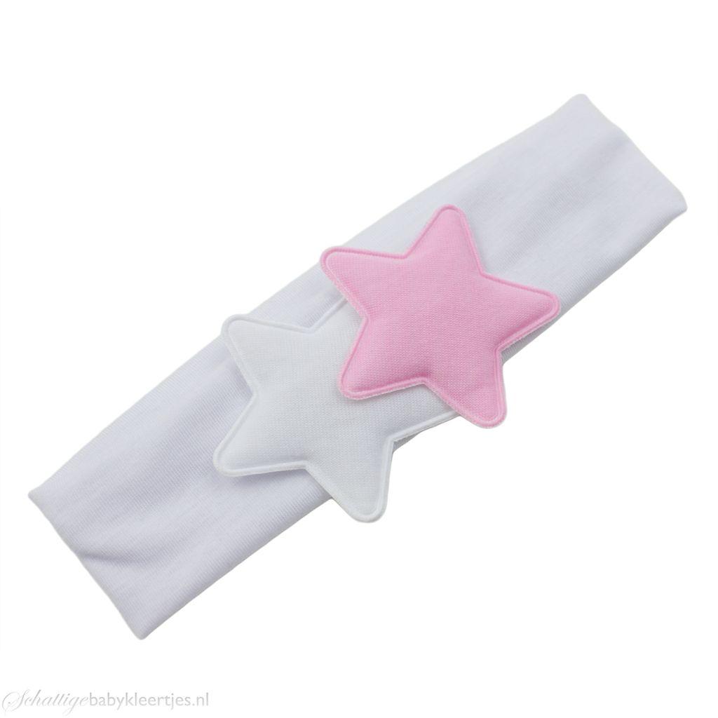 Baby haarband twee sterren (wit)