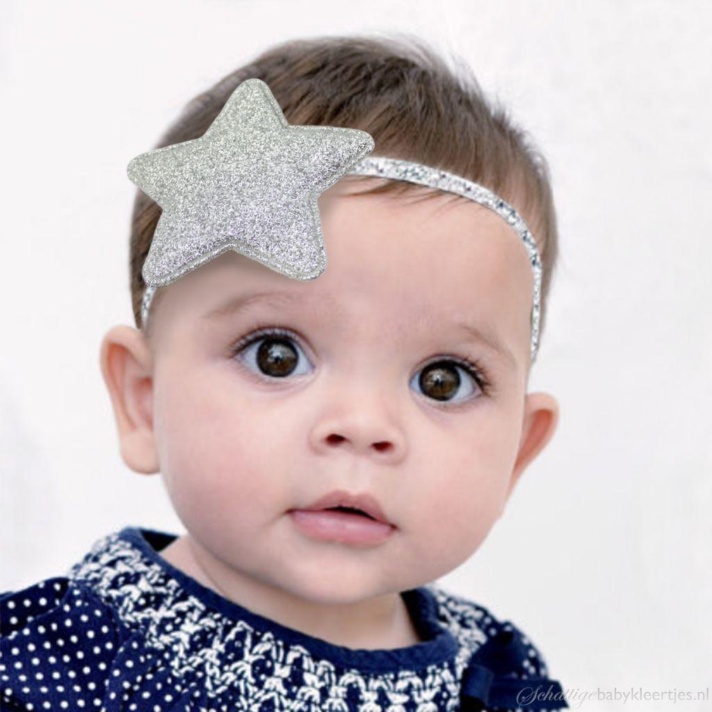 Baby haarbandje glitter ster (zilver)