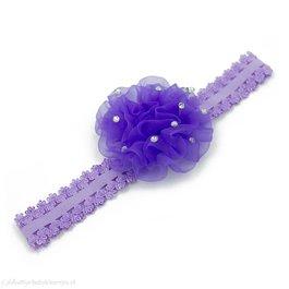 Haarbandje anjer met steentjes (lila)