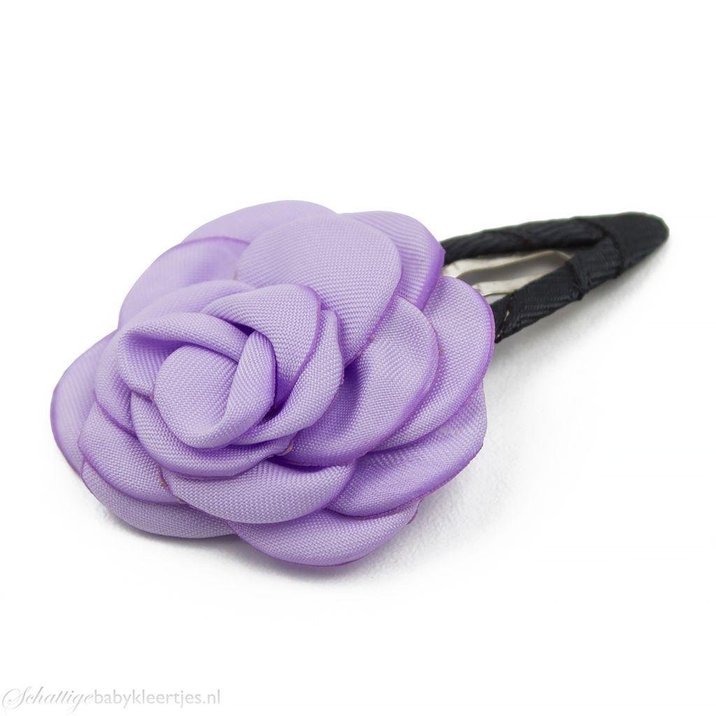 Baby haarspeldje met mooie satijnen roos (lila)