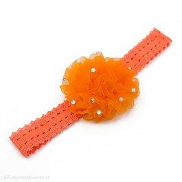 Haarbandje anjer met steentjes (oranje)