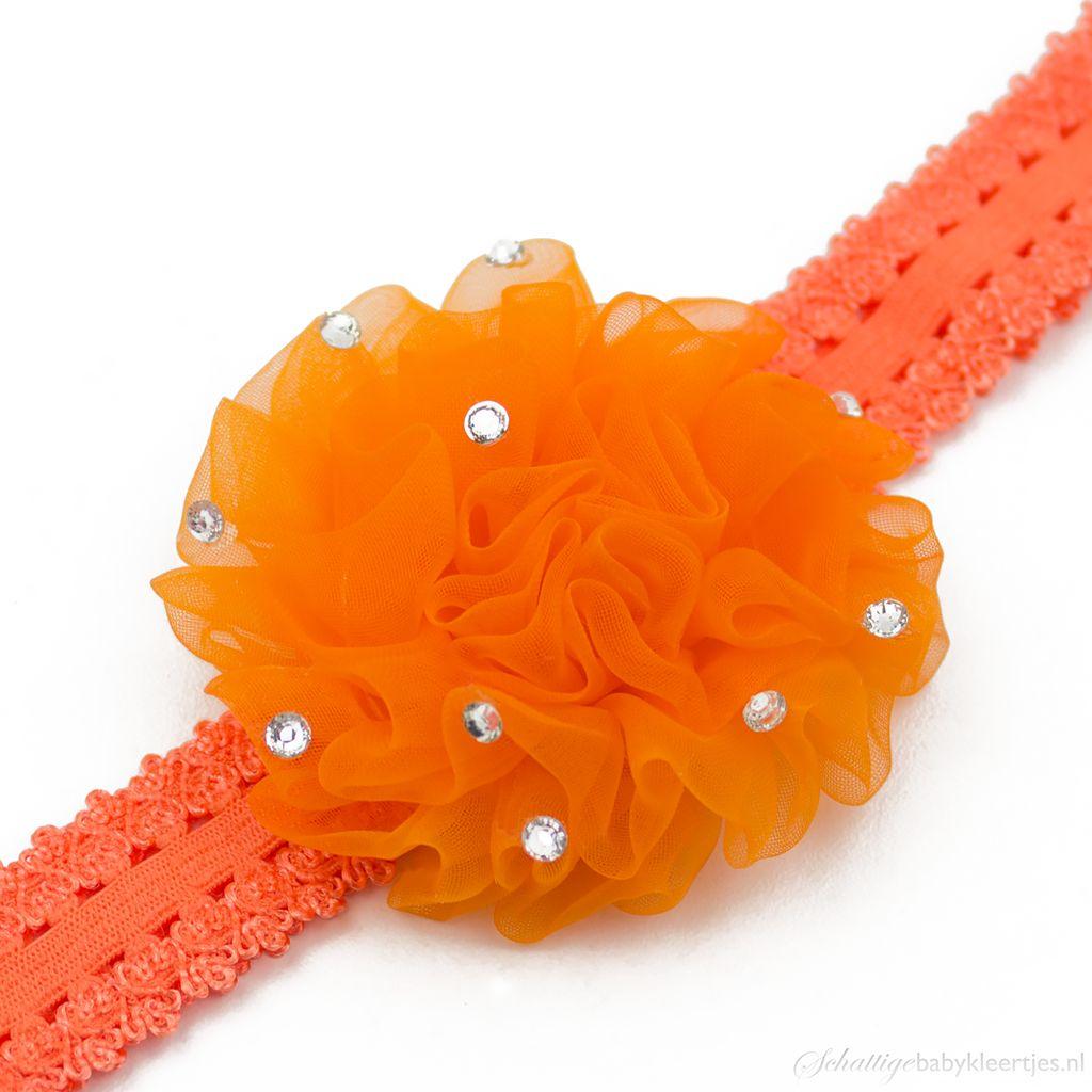 Baby haarbandje anjer met steentjes (oranje)