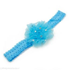 Baby haarbandje anjer met steentjes (lichtblauw)