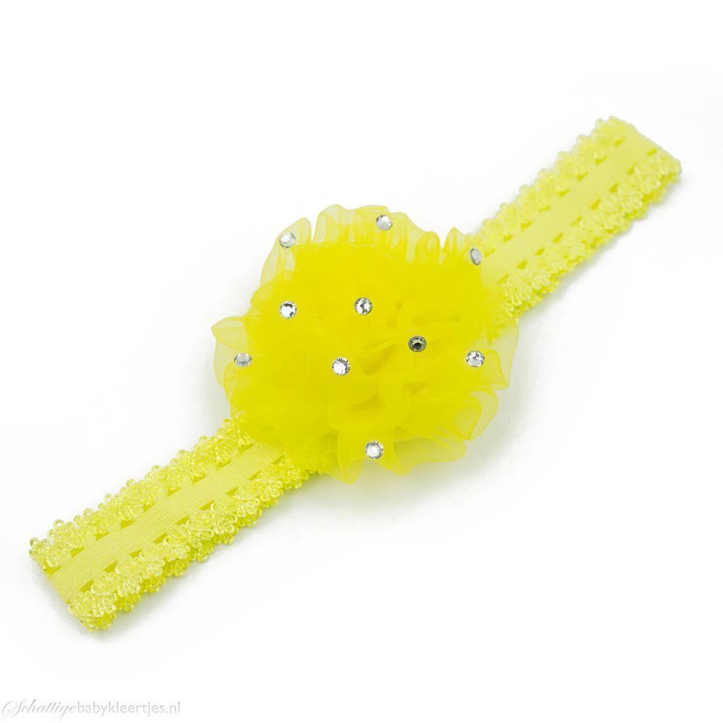 Baby haarbandje anjer met steentjes (geel)