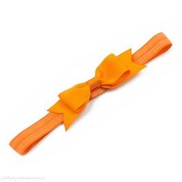 Haarbandje kleine, smalle strik (oranje)