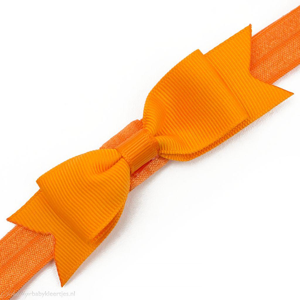 Baby haarbandje kleine, smalle strik (oranje)