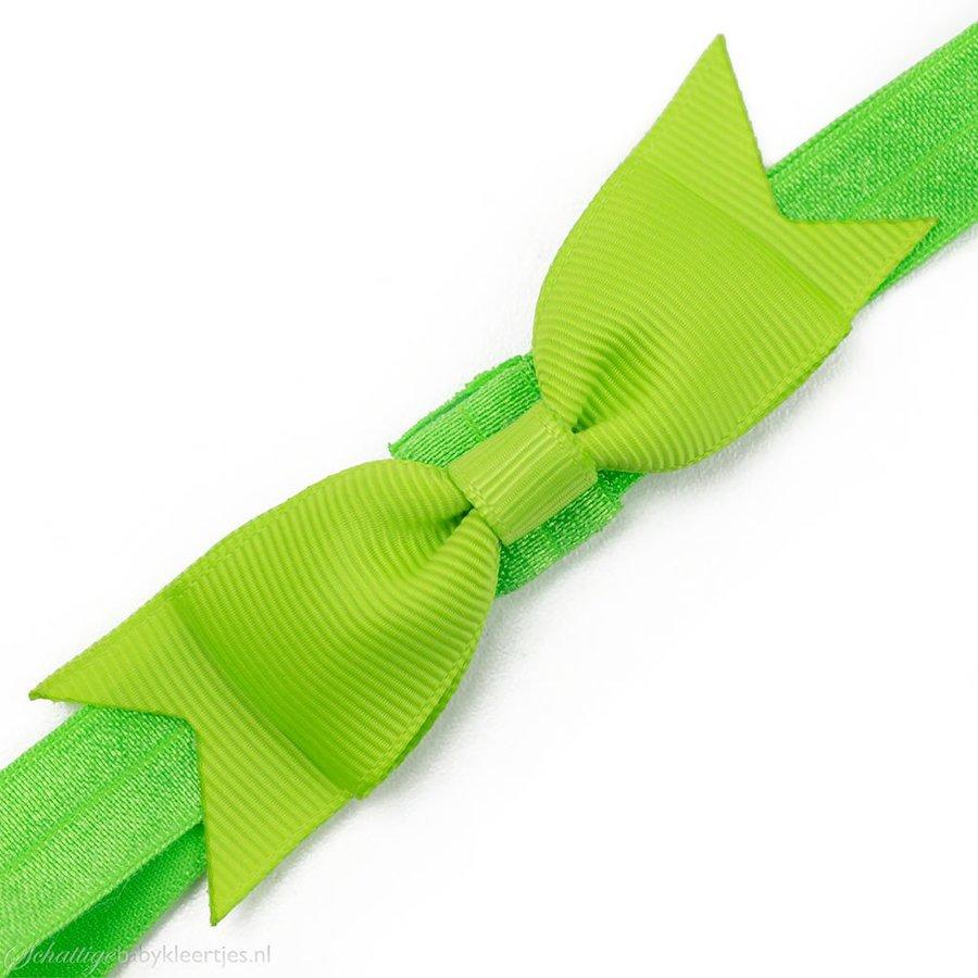 Baby haarbandje kleine, smalle strik (groen)