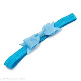 Haarbandje kleine, smalle strik (lichtblauw)