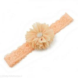 Haarbandje tutu bloem op kant (zand)