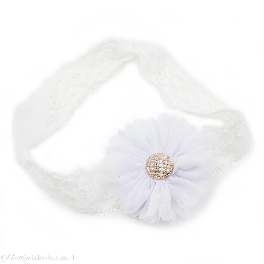 Baby haarbandje tutu bloem op kant (wit)