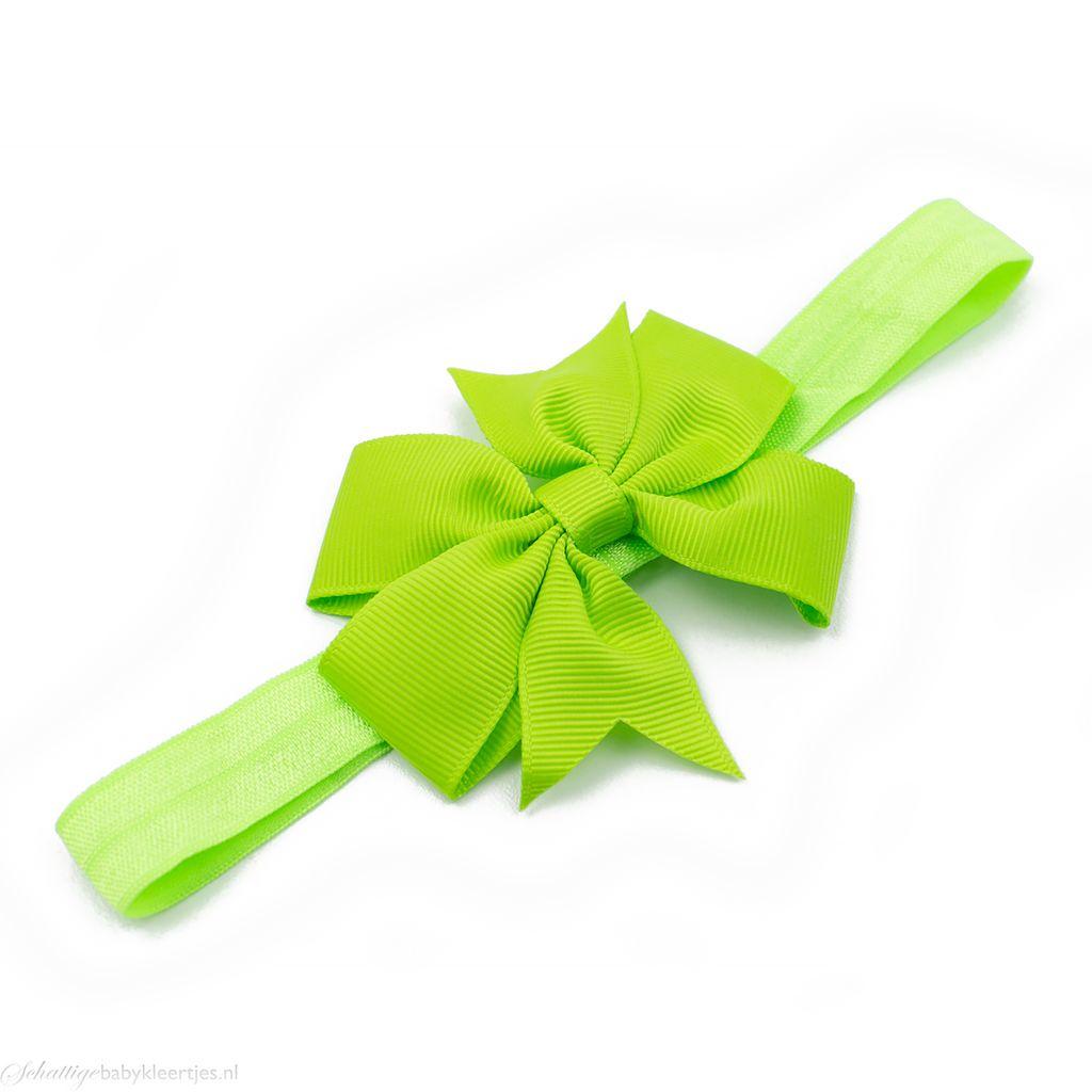 Baby haarbandje strik (groen)