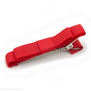 Haarspeldje platte strik (rood)