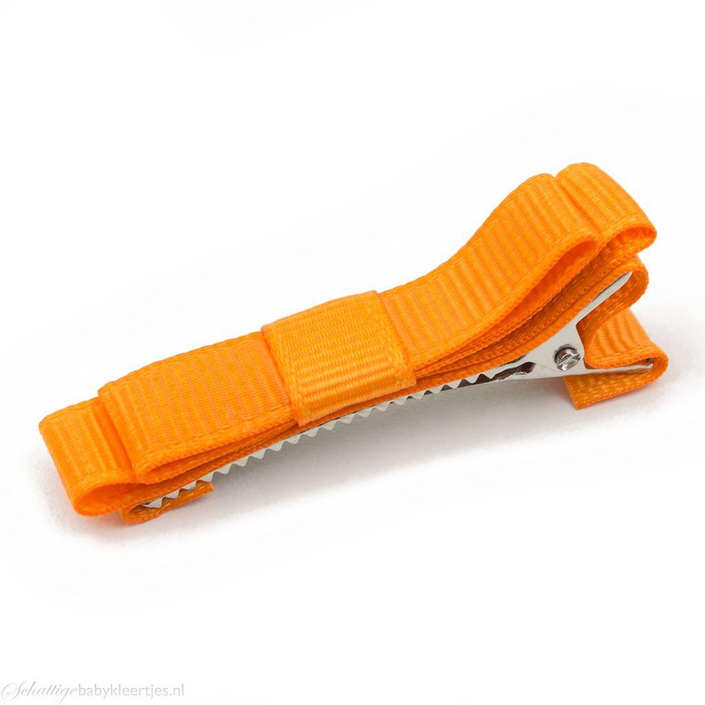 Haarspeldje platte strik (oranje)