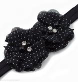 Baby haarbandje twee chiffon bloemen (zwart/wit)