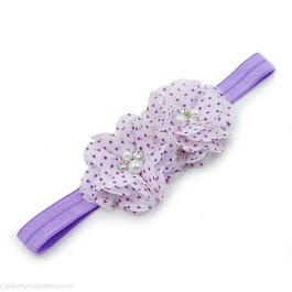 Haarbandje twee chiffon bloemen (wit/lila)