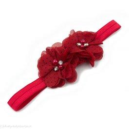 Haarbandje twee chiffon bloemen (rood/zwart)