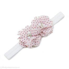 Haarbandje twee chiffon bloemen (wit/fuchsia)