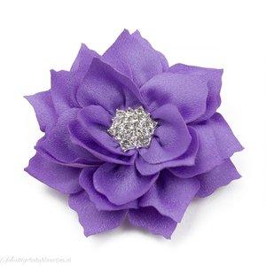 Haarspeldje lotus bloem met strass (lila)