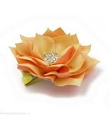 Haarspeldje lotus bloem met strass (oranje)