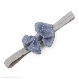Haarbandje met dubbele chiffon stippel strik (grijs)