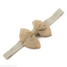 Haarbandje met dubbele chiffon stippel strik (zand)