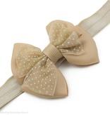 Baby haarbandje met dubbele chiffon stippel strik (zand)