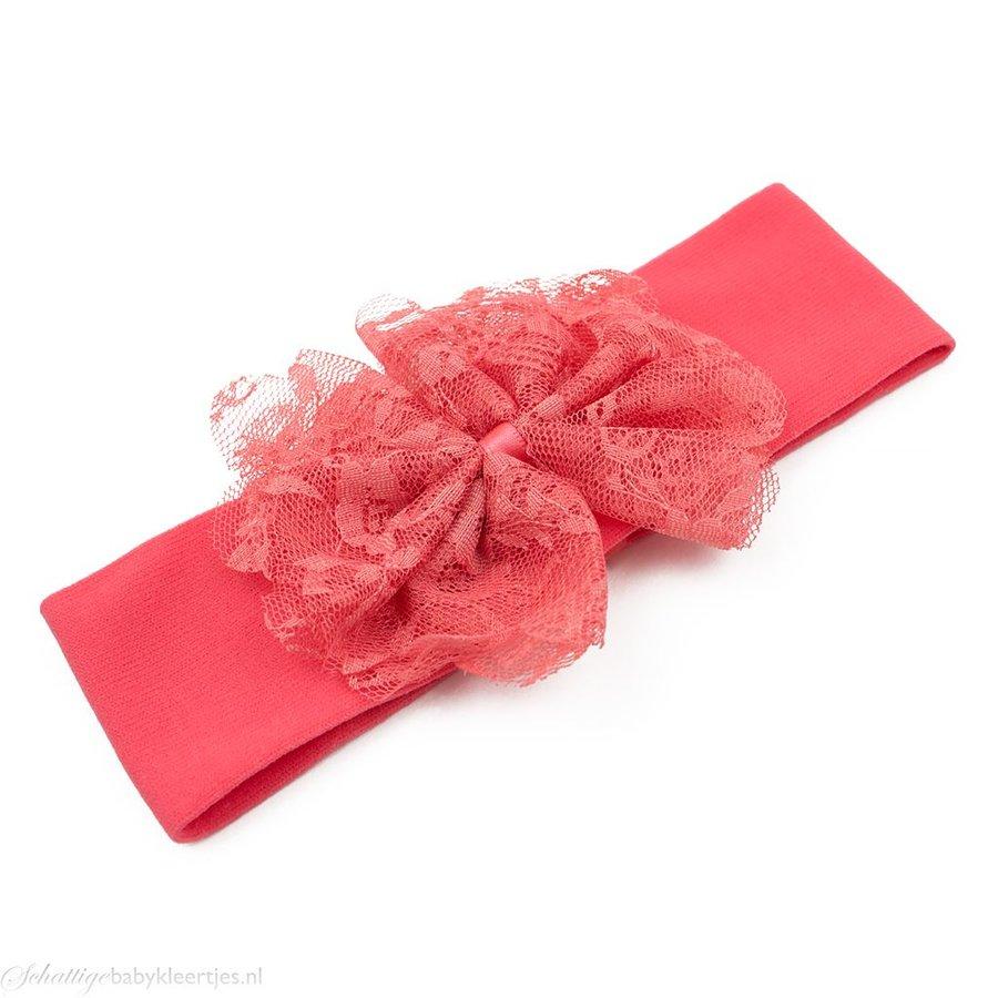 Baby haarbandje stof met kanten strik (koraal)