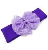 Baby haarbandje stof met kanten strik (paars)