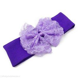 Haarbandje stof met kanten strik (paars)