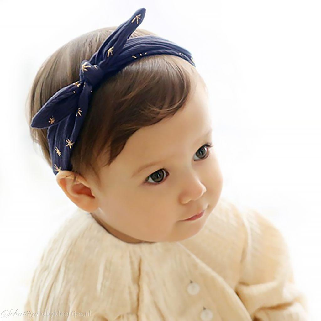 Haarbandje gouden sterren (donkerblauw)