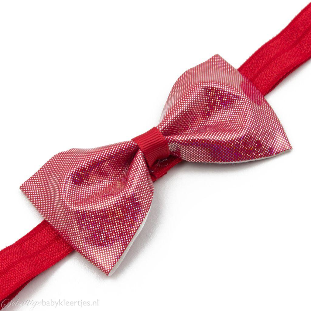 Baby haarbandje glitter strik van PU-leer (rood)