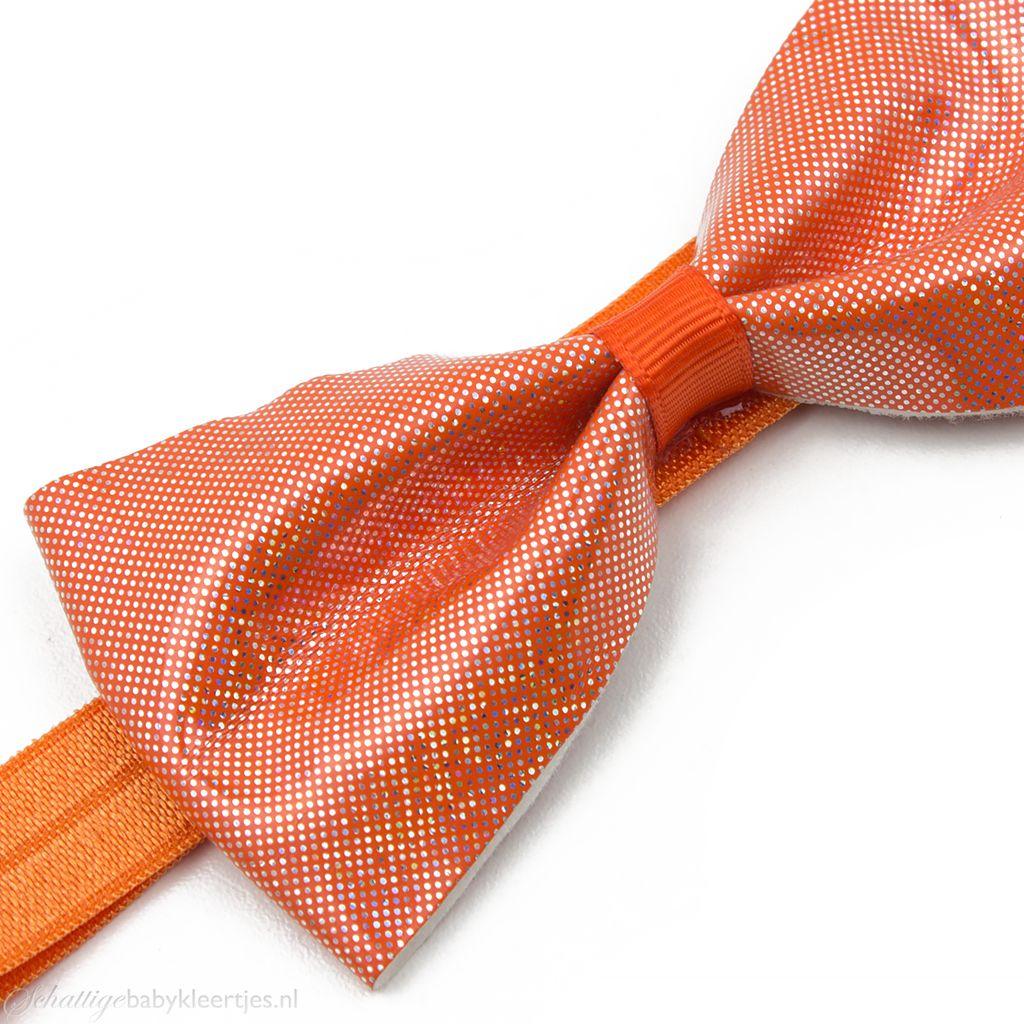 Baby haarbandje glitter strik van PU-leer (oranje)