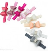 Haarbandje PVC strik met strass en parels (wit)