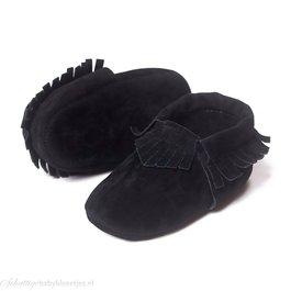 Baby slofje moccasin (zwart suedine)