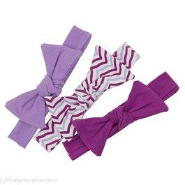 Set van drie haarbandjes (paars/lila/wit)