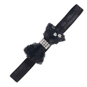 Haarbandje strik/strass/bloem (zwart)
