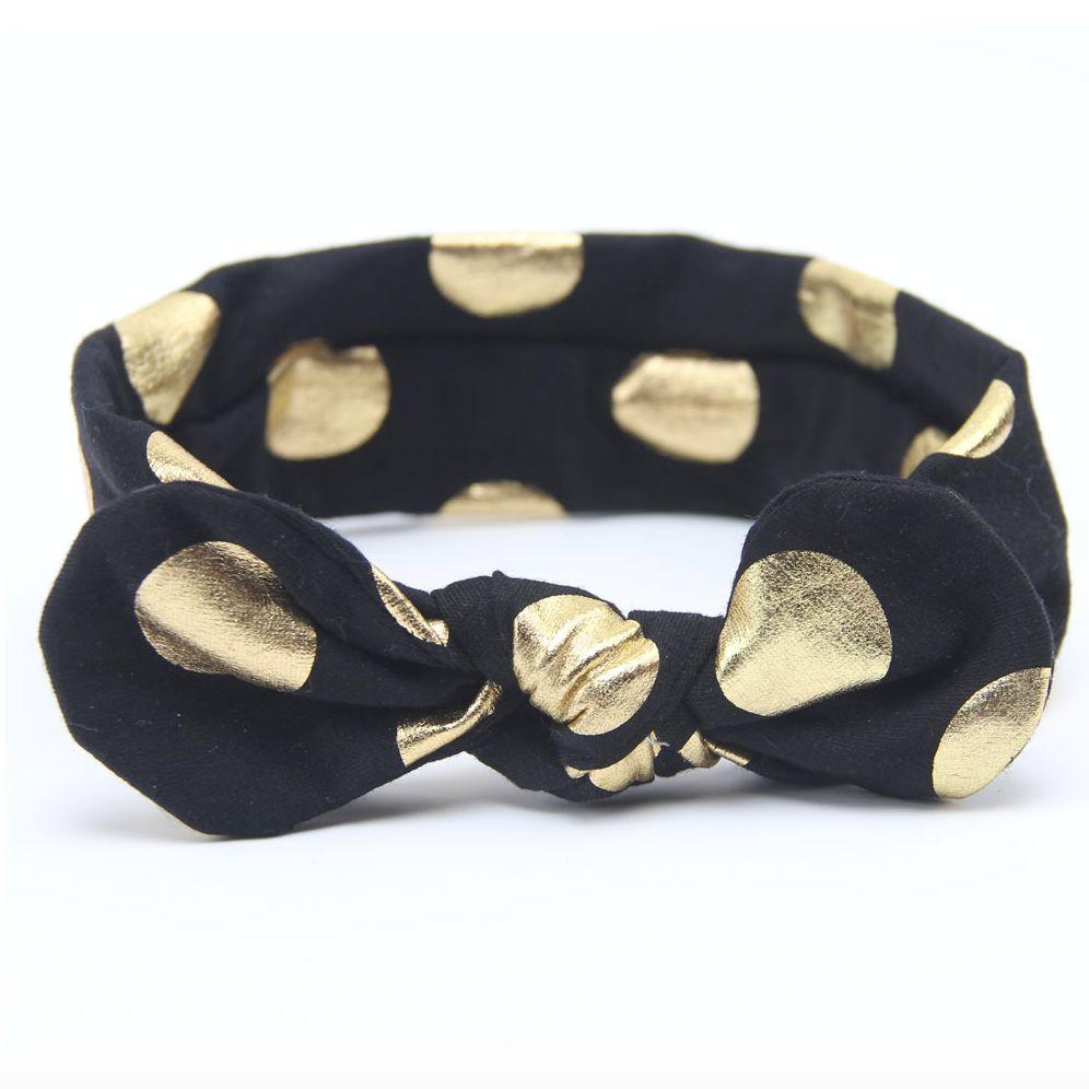 Haarbandje gouden stippels (zwart)