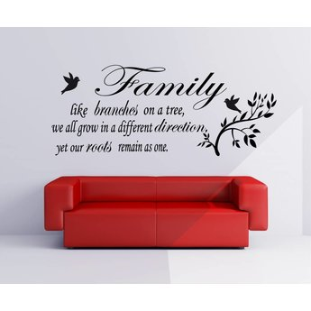 Family like branches on a tree, we all grow in a different direction, yet our roots remain as one. Muursticker / Interieursticker