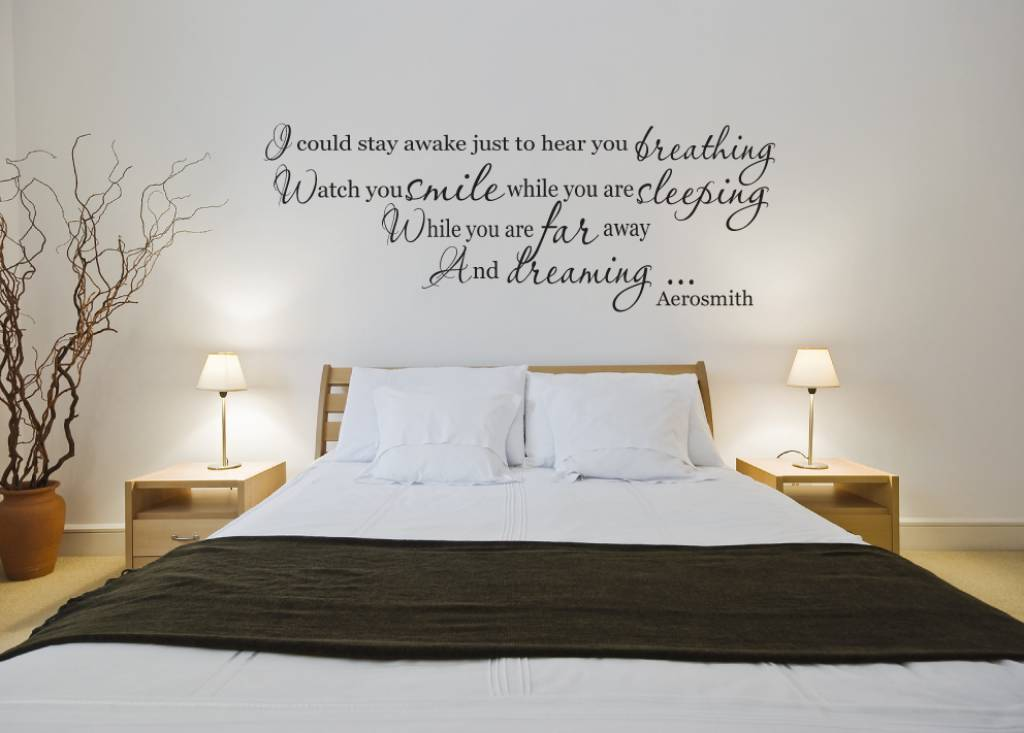 Aerosmith - I could stay awake just to hear you breathing, Watch you smile when you are sleeping, While you are far away and dreming.... Muursticker / Interieursticker