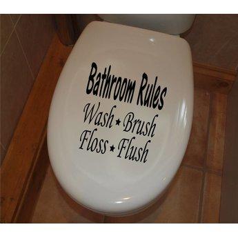 Bathroom rules, wash, brush, floss, flush toilet sticker