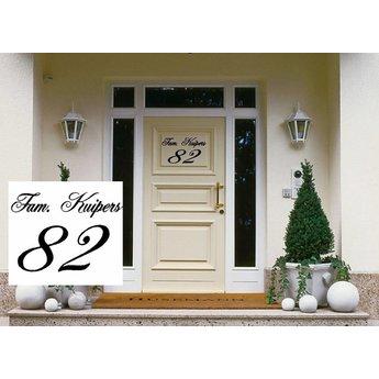 Deursticker Naam & Huisnummer. Kies je eigen lettertype
