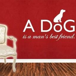 A dog is a man's best friend muursticker