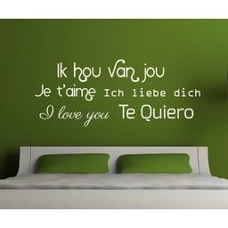 Ik hou van jou, Je t'aime, Ich liebe dich, I love you, Te Quiero muursticker
