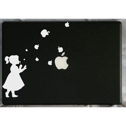 Meisje blaast apple appels laptop sticker