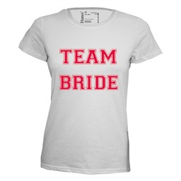 Team bride. Dames T-shirt in div. kleuren. XS t/m 4 XL