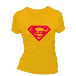 Super mom. Dames T-shirt in div. kleuren. XS t/m 4 XL