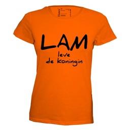 Lam leve de koningin. Dames T-shirt in div. kleuren. XS t/m 4 XL