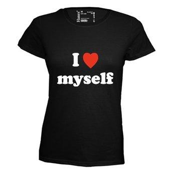 I love myself. Dames T-shirt in div. kleuren. XS t/m 4 XL